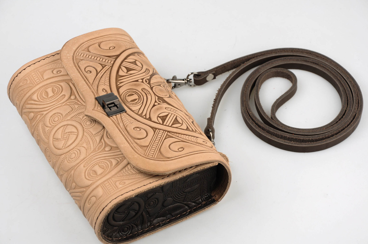 Бежевая кожаная сумочка трансформер, сумочка-клатч на плечо/на пояс, фото 1
