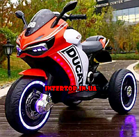 Детский трехколесный электро мотоцикл на аккумуляторе Ducati красный Дитячий трицикл електричний