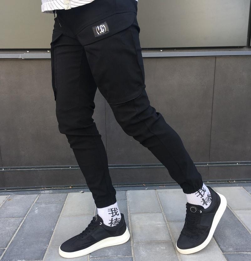 Чоловічі спортивні штани карго на манжеті чорні. Живе фото
