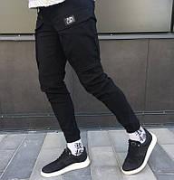 Мужские спортивные штаны карго на манжете черные. Живое фото