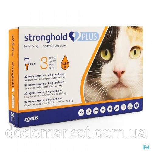 Стронгхолд Плюс (Stronghold Plus) 30 мг/5 мг капли для кошек от 2,5 до 5 кг 3 пипетки по 0.5 мл