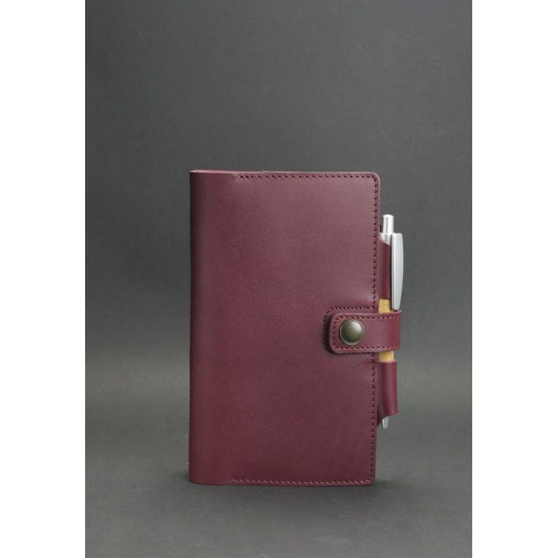 Женский кожаный  блокнот (Софт-бук) 4.0 бордовый