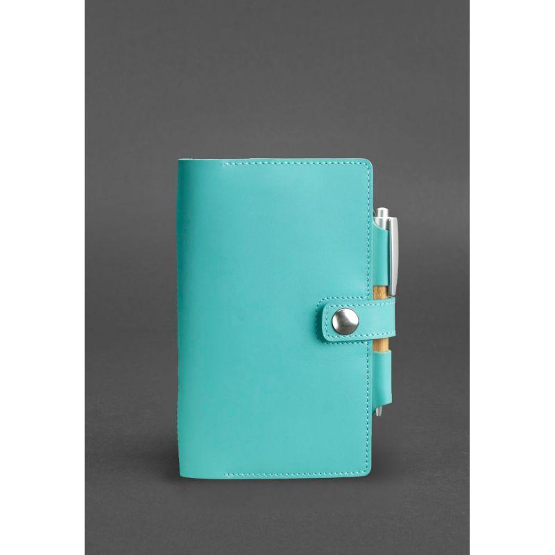 Женский кожаный блокнот (Софт-бук) 4.0 бирюзовый