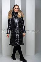 Пуховик из мягкой глянцевой ткани с натуральным мехом енота Peercat 19-138 чёрного цвета, фото 1