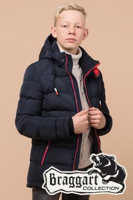 Детская синяя зимняя куртка на мальчика Braggart Kids (р. 34, 36, 38) арт. 60455K