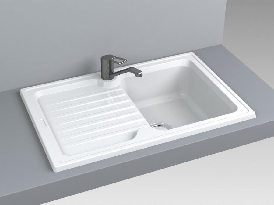 Кухонная мойка из искусственного камня 86*50 см Miraggio ORLEAN белый