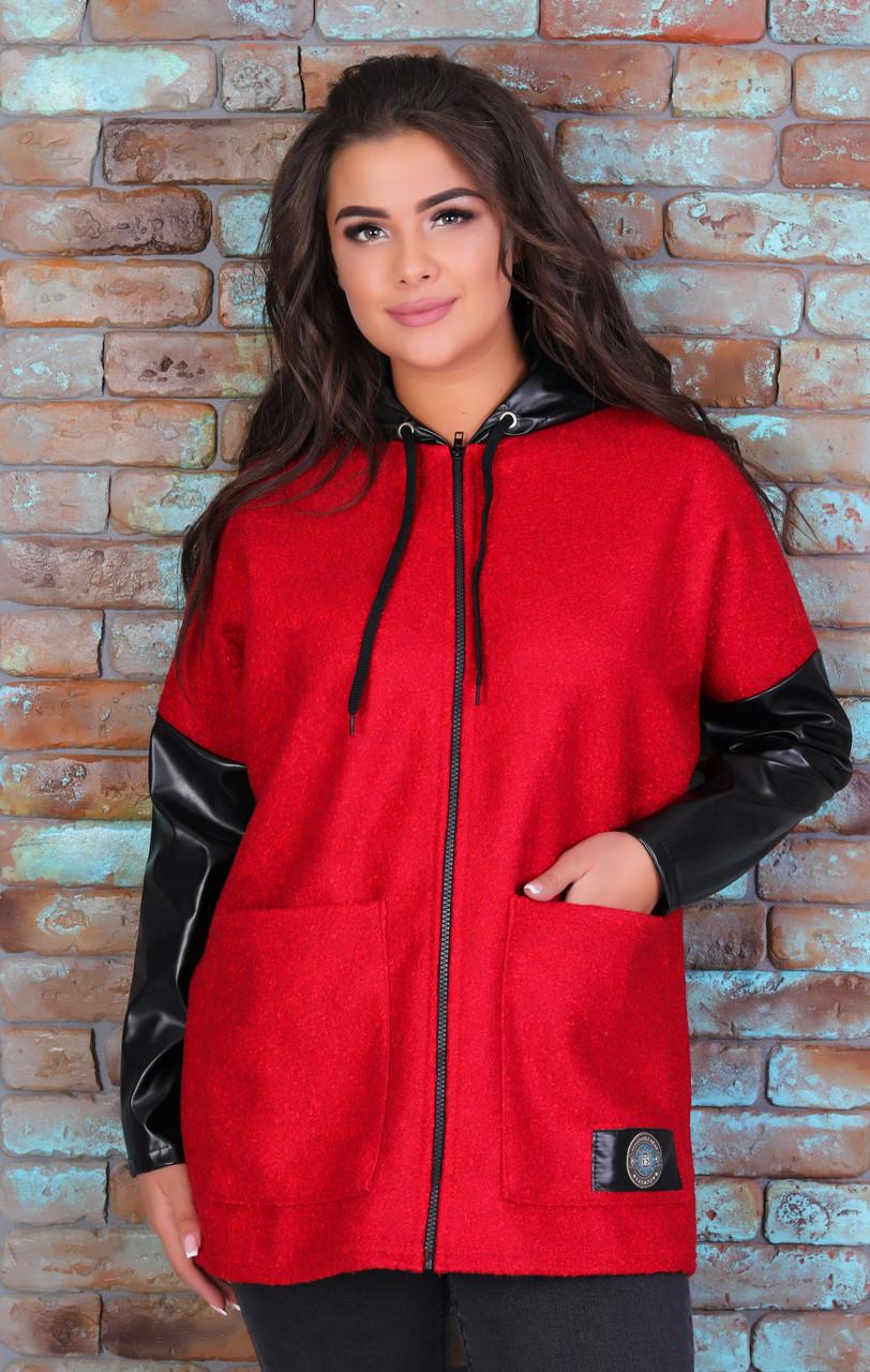 Подовжена тепла жіноча куртка з Букле та шкірозамінника