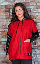 Теплая удлиненная женская куртка из Букле и кожзама