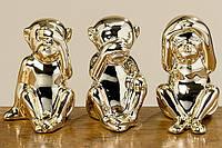 Набор статуэток три обезьянки золотая керамика h8см 1005405