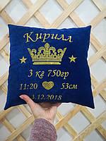 Подушка с короной и метрикой синяя, фото 3
