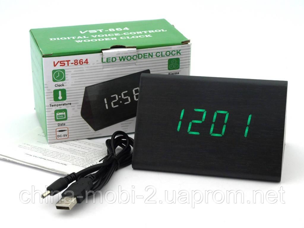 VST-864 часы настольные цифровые с будильником, датой и термометром,черные с зелеными цифрами
