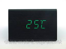VST-864 часы настольные цифровые с будильником, датой и термометром,черные с зелеными цифрами, фото 3