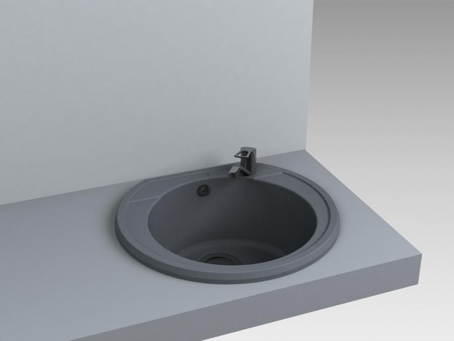 Кухонная мойка из искусственного камня 52*48*20 см Miraggio Tuluza серый