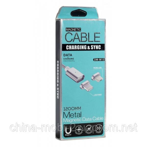 Micro USB DM-M15 Магнитный кабель для iPhone Magnetic серебро