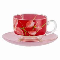 Красные чашки с блюдцами Luminarc Evolution Red orchis 12 предметов 220 мл (P6878)