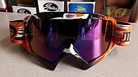 Кроссовые мото очки маска Эндуро Джей Поли оранжево чёрные, с затемнённым стеклом, фото 1