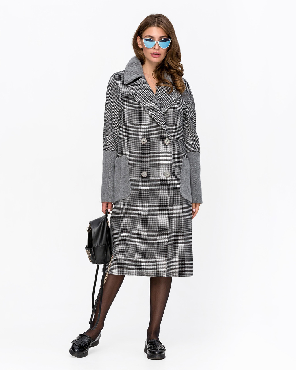 Пальто оверсайз в клетку с 42 по 50 размер
