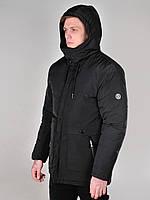 Мужская длинная куртка Dizzy (с капюшоном на меху) осень-зима