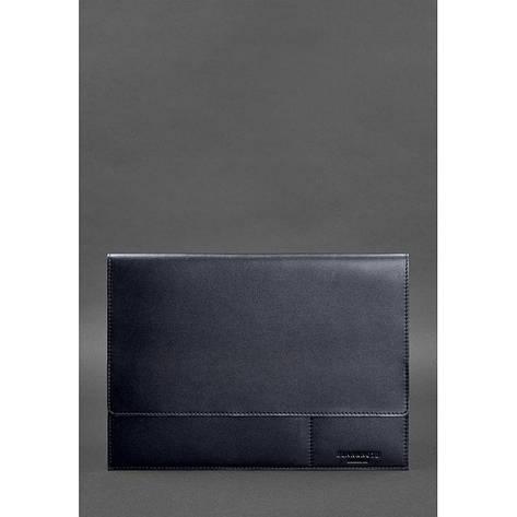 Кожаная папка для документов А4 (на магнитах) темно-синяя, фото 2
