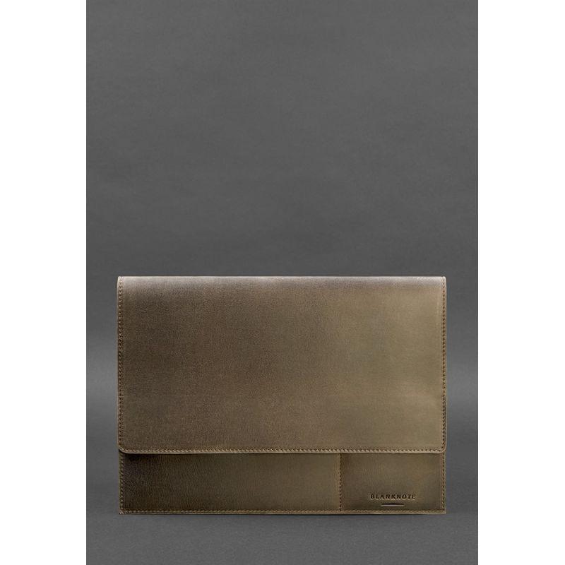 Кожаная папка для документов А4 (на магнитах) темно-коричневая