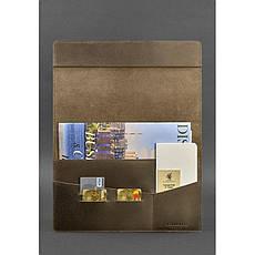 Кожаная папка для документов А4 (на магнитах) темно-коричневая, фото 2