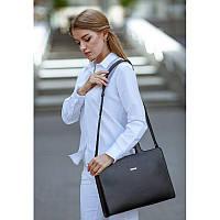 Женская кожаная сумка для ноутбука и документов черная