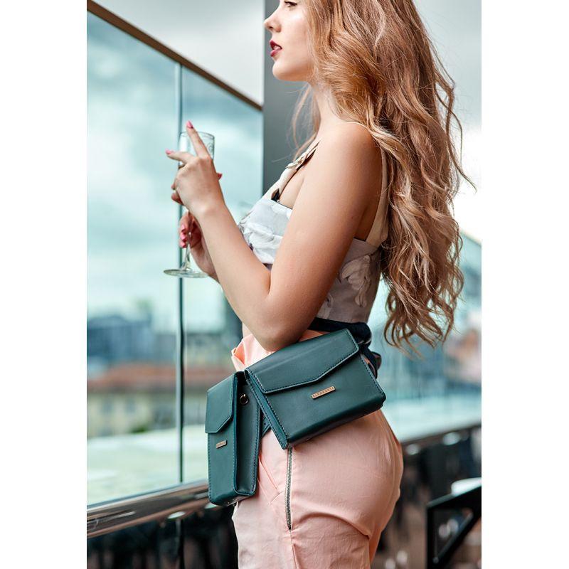 Набор женских зеленых кожаных сумок Mini поясная/кроссбоди