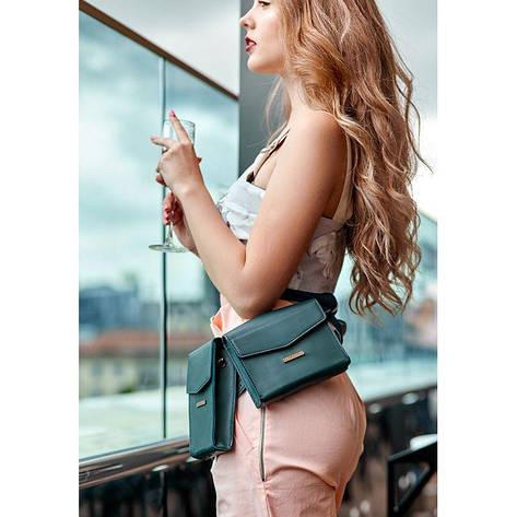 Набор женских зеленых кожаных сумок Mini поясная/кроссбоди, фото 2