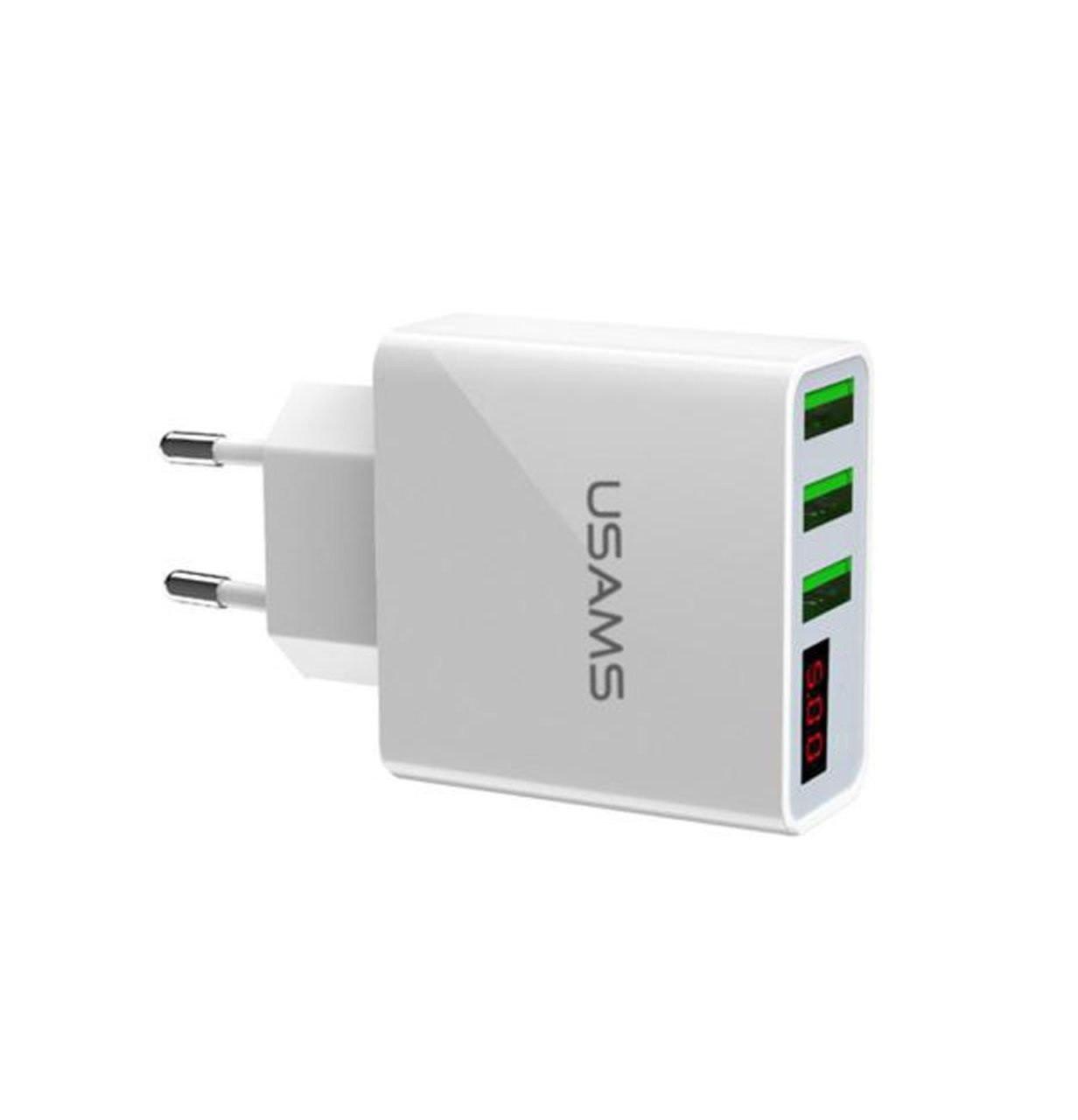 Зарядний пристрій USAMS на 3 USB порту з вбудованим тестером: дисплей споживання струму та напруги