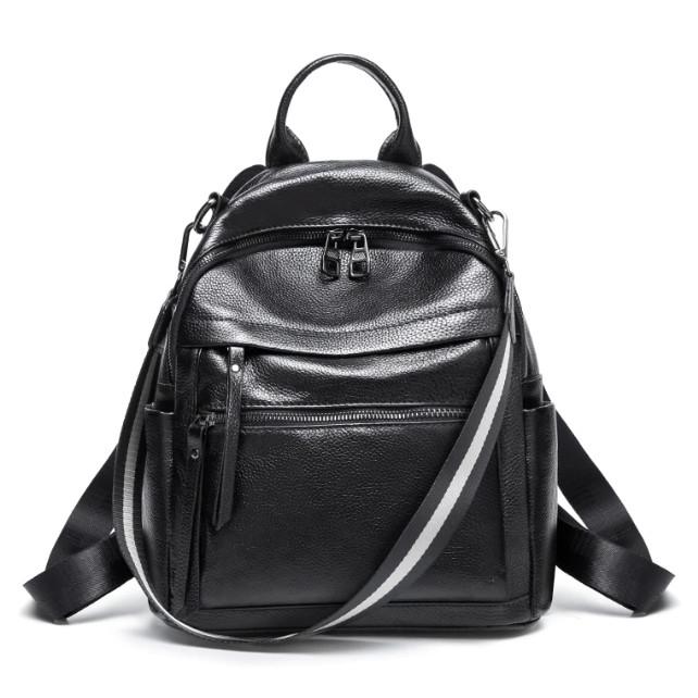 Рюкзак сумка женский кожаный.  Трансформер из натуральной кожи (черный), фото 1