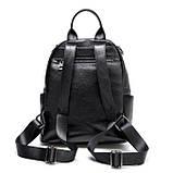 Жіночий шкіряний рюкзак міський. Модний рюкзак жіночий сумка рюкзак трансформер (чорний), фото 4