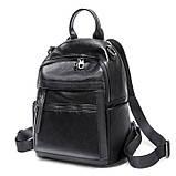 Жіночий шкіряний рюкзак міський. Модний рюкзак жіночий сумка рюкзак трансформер (чорний), фото 2