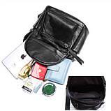 Жіночий шкіряний рюкзак міський. Модний рюкзак жіночий сумка рюкзак трансформер (чорний), фото 10