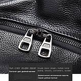 Жіночий шкіряний рюкзак міський. Модний рюкзак жіночий сумка рюкзак трансформер (чорний), фото 5