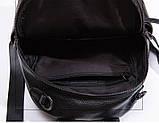 Жіночий шкіряний рюкзак міський. Модний рюкзак жіночий сумка рюкзак трансформер (чорний), фото 6