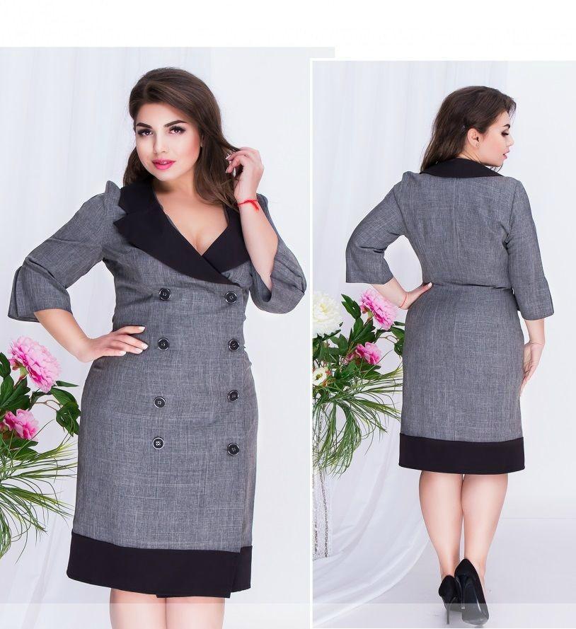 Шикарное женское платье на запах с пуговками ткань *Габардин* 50, 52 размер батал