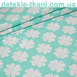 """Отрез ткани """"Клевер"""" с белыми цветочками  на мятном фоне №1000, фото 2"""