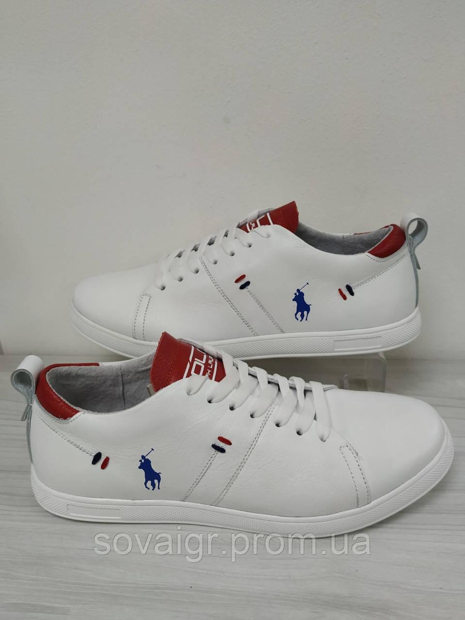 Кеды кожаные белые мужские Polo Ralph Lauren!!! Акция!! - 40%