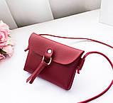 """Женская мини сумочка с ремешком через плечо """"Peace"""", цвет вишневый, фото 2"""