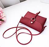 """Женская мини сумочка с ремешком через плечо """"Peace"""", цвет вишневый, фото 3"""