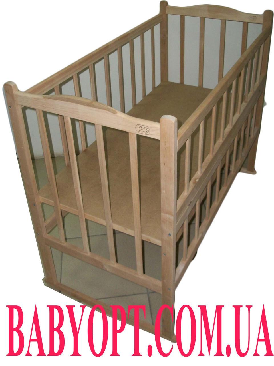 Экологически чистая кроватка без лака КФ. Дуги. Колеса