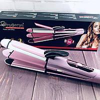 Утюжок выпрямитель плойка для укладки волос гофре 3 в 1 Gemei GM 2966