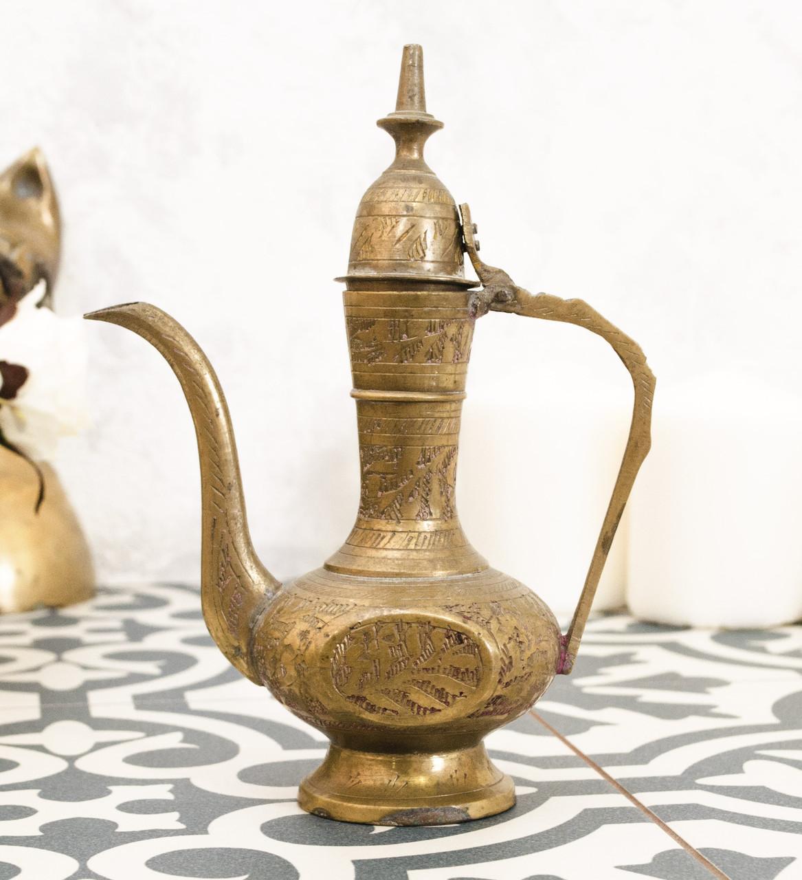 Старый индийский кофейник, кувшинчик, латунь, Индия