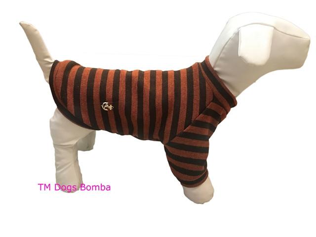 Свитер из ангоры для собак оранжевый с полосами