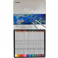 Цветные карандаши Marco Raffine, метал. пенал 24 цвета, 7100-24TN, фото 1