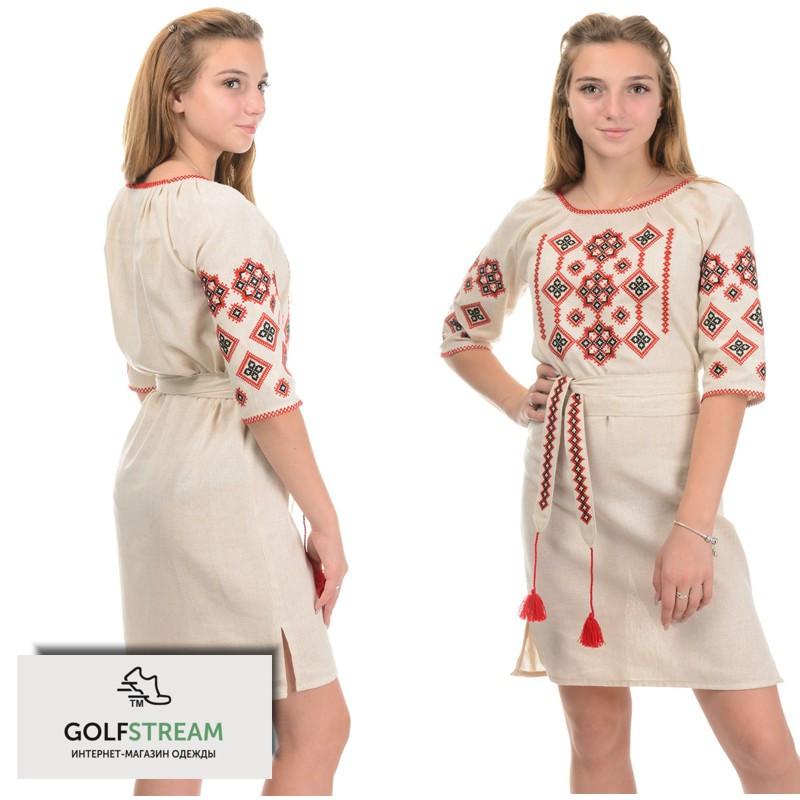 Платье-вышиванка Украиночка беж
