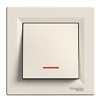Выключатель одноклавишный с подсветкой, крем, Schneider electriс Asfora
