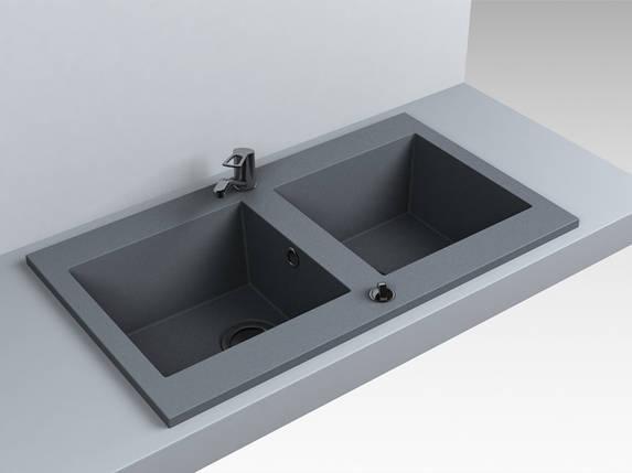Мойка кухонная 2 чаши кварц (870х500х180 мм) Miraggio WESTEROS (серый), фото 2