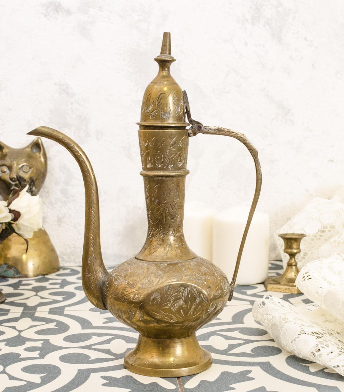 Старый восточный кофейник, кувшин индийский, латунь, Индия