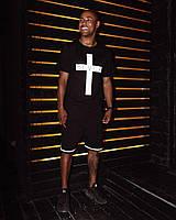 Футболка мужская с принтом Крест черная